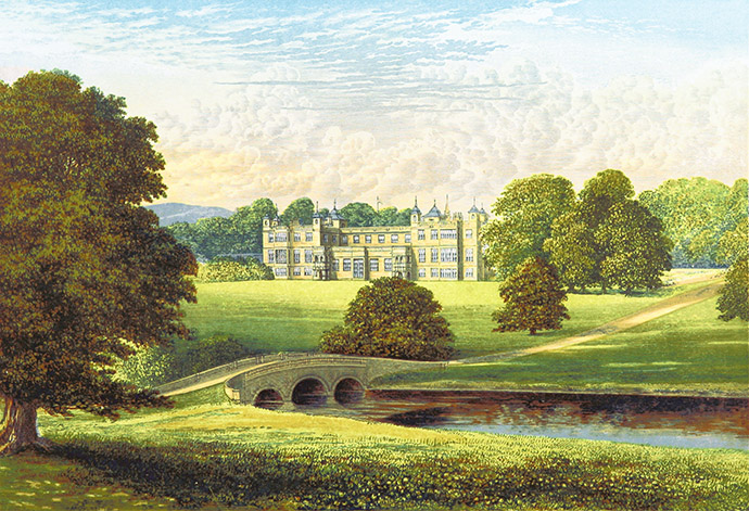 Uitzicht op Audley End House. Uit: Francis Orpen Morris, A Series of Picturesque Views of Seats of the Noblemen and Gentlemen of Great Britain and Ireland with Descriptive and Historical Letterpress (1880) [Publiek domein]. Bewerking door My inner Victorian.