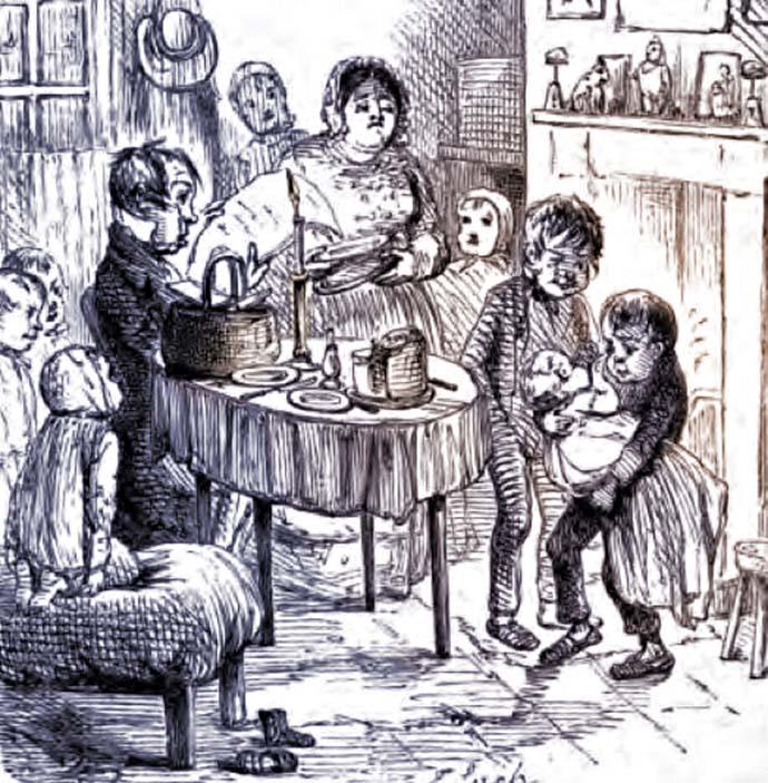Redlaws vloek mist ook zijn uitwerking niet op de anders toch vrolijke familie Tetterby. Illustratie door John Leech [Publiek domein]. Kleurbewerking door My inner Victorian.