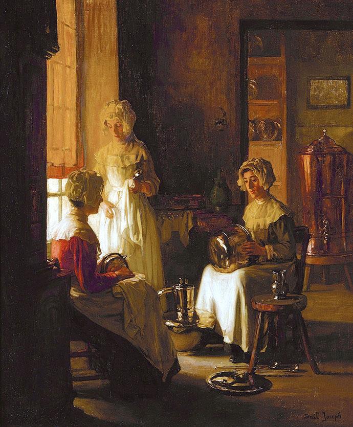 Polishing Copper door Joseph Bail (1862-1921) [Publiek domein].