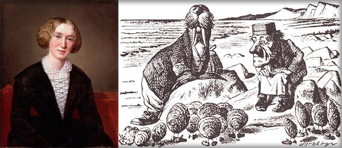 De schrijfster George Elliot rond haar dertigste, naast een scene uit Lewis Carols Alice Through The Looking Glass, door John Tenniel [Publiek domein]. Compilatie door My inner Victorian.