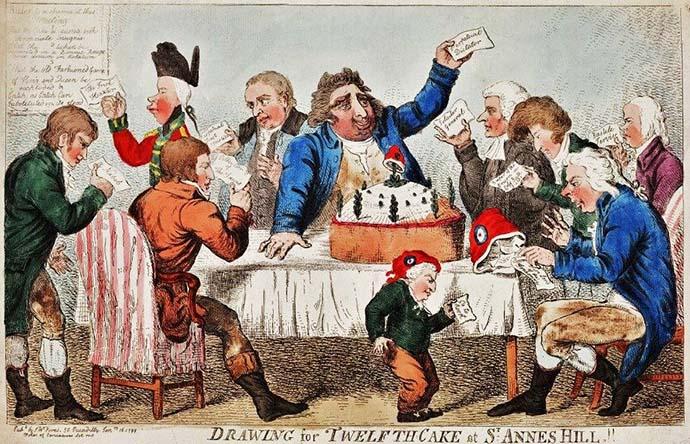 Een politieke cartoon van Isaac Cruikshank uit 1779, met daarop een Twelfth Cake.
