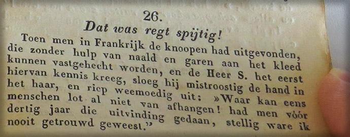 Grapje over vrijgezellenknopen uit de Enkhuizer Almanak van 1845.