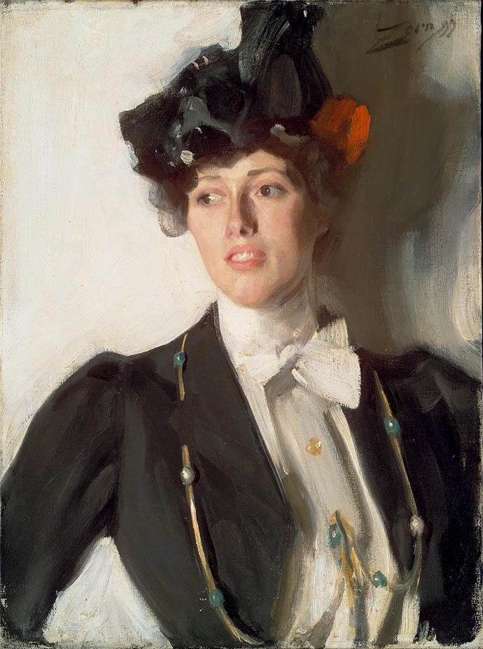 Portret van Martha Mercer-Dana (1899) door de Zweedse kunstenaar Anders Zorn (1860-1920) [Publiek domein].