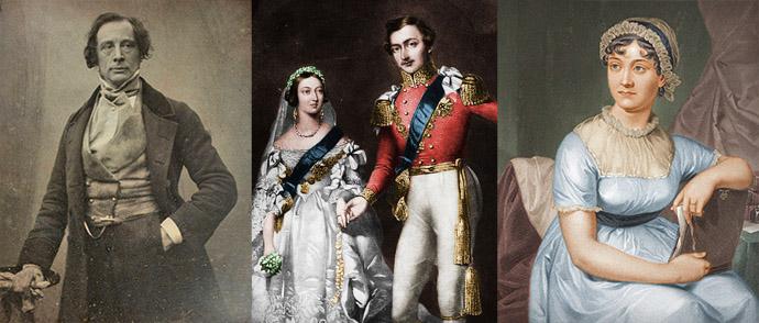 Jane Austen, Koningin Victoria en Prins Albert, en Charles Dickens. Compilatie door My inner Victorian.