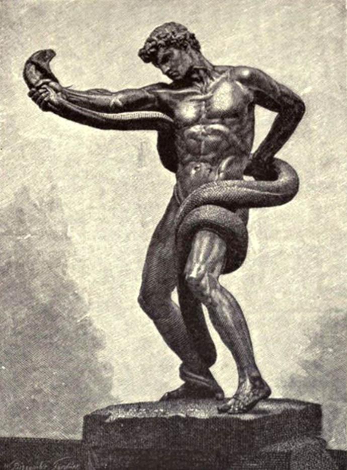 Een eigentijdse weergave van Leightons bronzen beeld, Athlete Wrestling with a Python (1877) [Publiek domein].