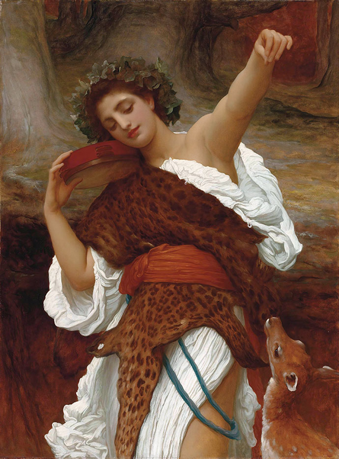Bacchante (1890), door Frederic Leighton [Publiek domein].