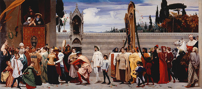 Cimabue's Celebrated Madonna is Carried in Procession through the Streets of Florence (1855) door Frederic Leighton [Publiek domein].