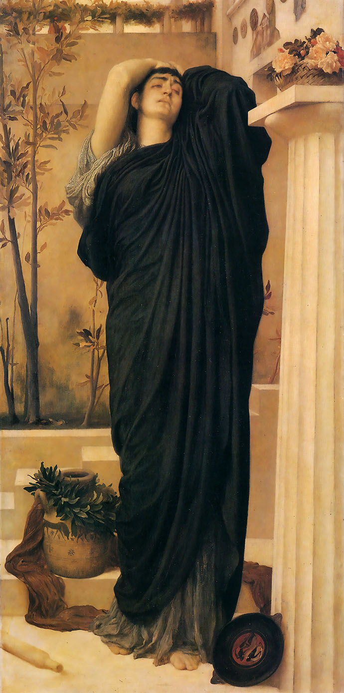 Electra at the Tomb of Agamemnon (ca. 1868), door Frederic Leighton [Publiek domein].