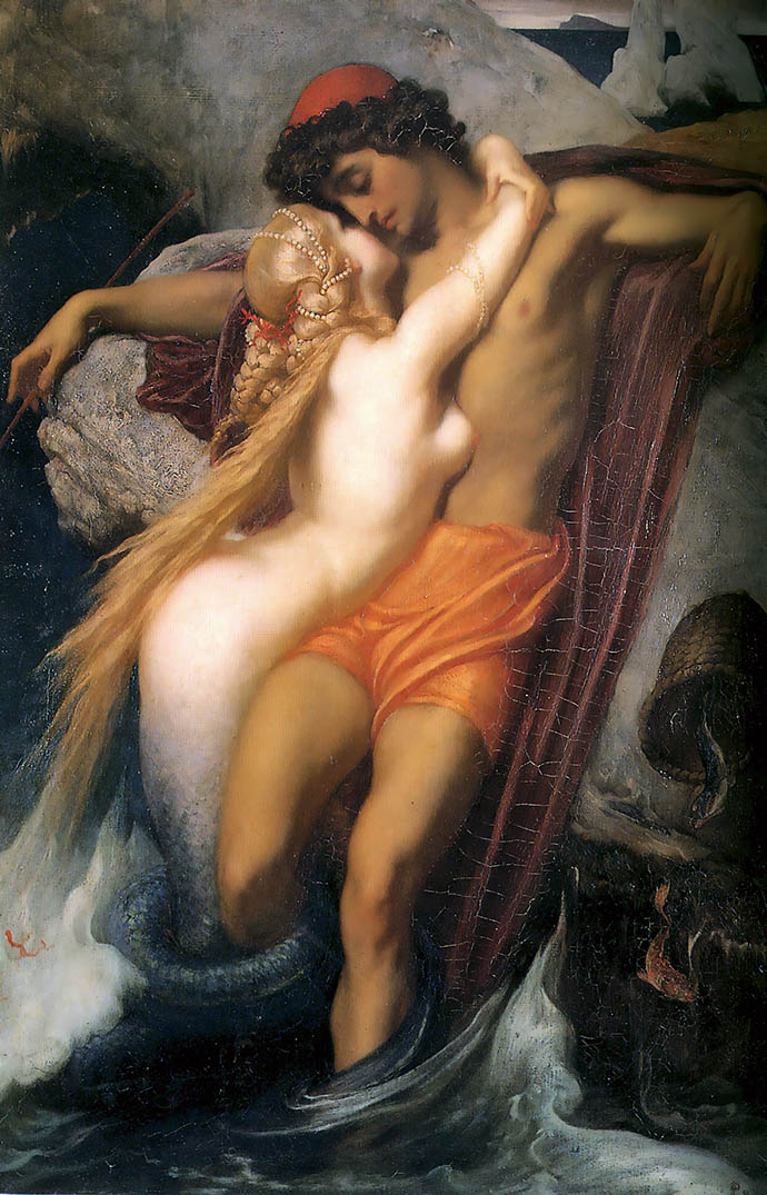 The Fisherman and the Syren (1856), door Frederic Leighton [Publiek domein].