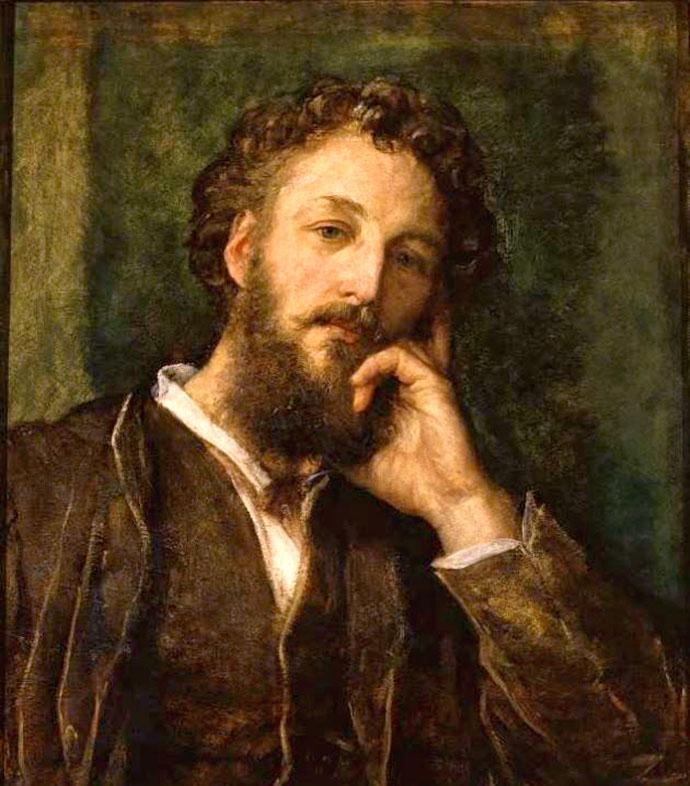 Frederic Leighton begin veertig, op een portret uit 1871, door zijn collega en goede vriend George Frederic Watts (1817-1904) [Publiek domein].