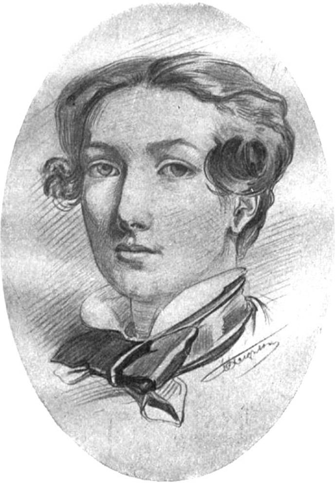 Een zelfportret in potlood van Frederic Leighton, van rond 1848-1850 [Publiek domein].