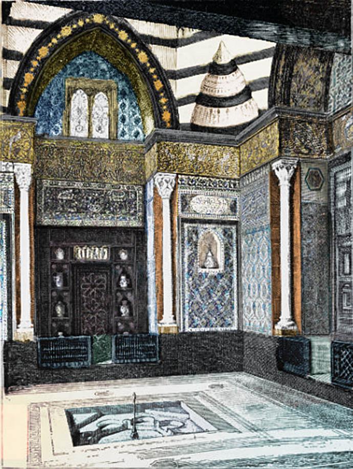 Een eigentijds kijkje in de Arab Hall, die Leighton aan zijn huis toevoegde om zijn collectie Oosterse tegels te huisvesten [Publiek domein]. Ingekleurde versie door My inner Victorian.