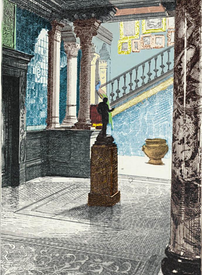 Een eigentijdse tekening van de vestibule in Leightons huis, vanuit de Narcissus Hall richting de trap naar de eerste etage [Publiek domein]. Ingekleurde versie door My inner Victorian.