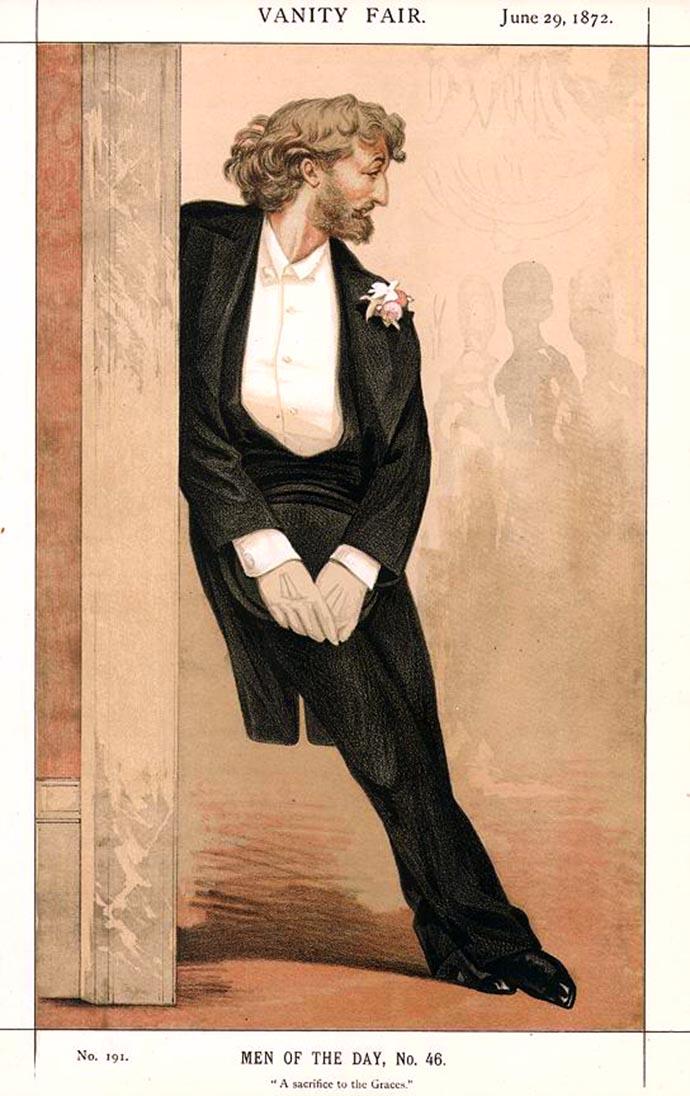 A Sacrifice To The Graces. Leighton, ten voeten uit, op een speciaal portret voor het Victoriaanse weekblad Vanity Fair [Publiek domein].