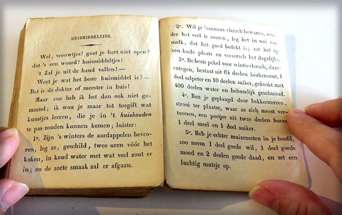 Adviezen over huismiddeltjes voor de vrouw uit de Enkhuizer Almanak van 1845.