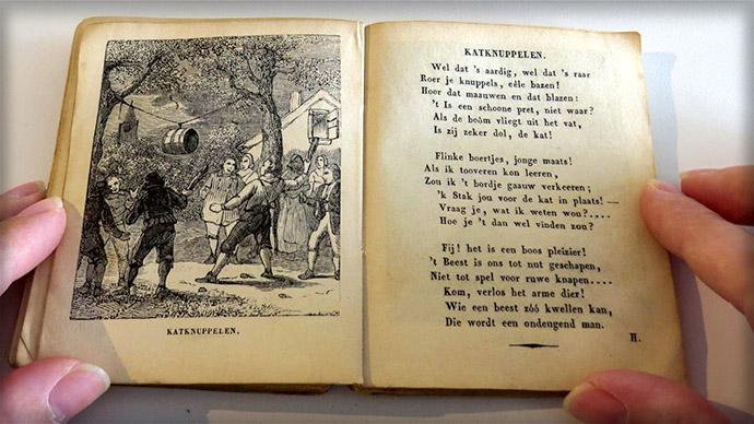 Versje 'katknuppelen' uit de Enkhuizer Almanak van 1845.