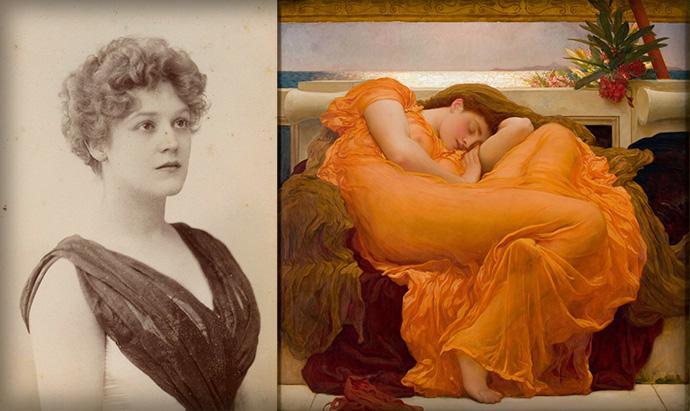 Actrice Dorothy Dene (geboren als Ada Alice Pullen), op een foto door W & D Downey uit de jaren 1880 [Publiek domein], naast Leightons meesterwerk, Flaming June, waarvoor zij waarschijnlijk poseerde [Publiek domein]. Compilatie door My inner Victorian.
