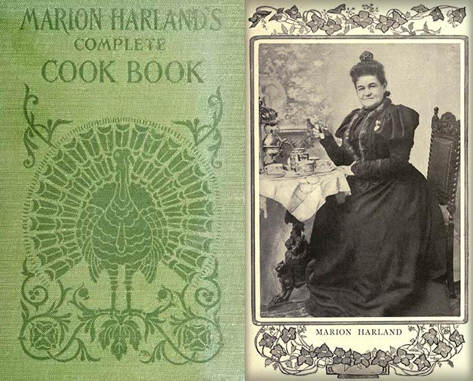 Marion Harland naast het omslag van haar kookboek, , rond 1903 [Publiek domein].