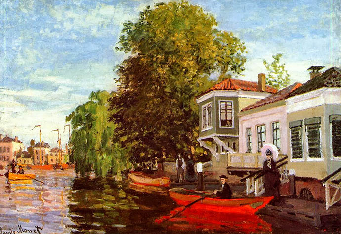 Huizen aan de Achterzaan, één van de schilderijen die Monet in 1871 maakte tijdens zijn verblijf in Zaandam [Publiek domein].