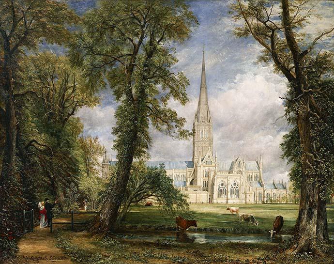John Constables schilderij Salisbury Cathedral from the Bishop's Grounds (1823-1825) [Publiek domein].