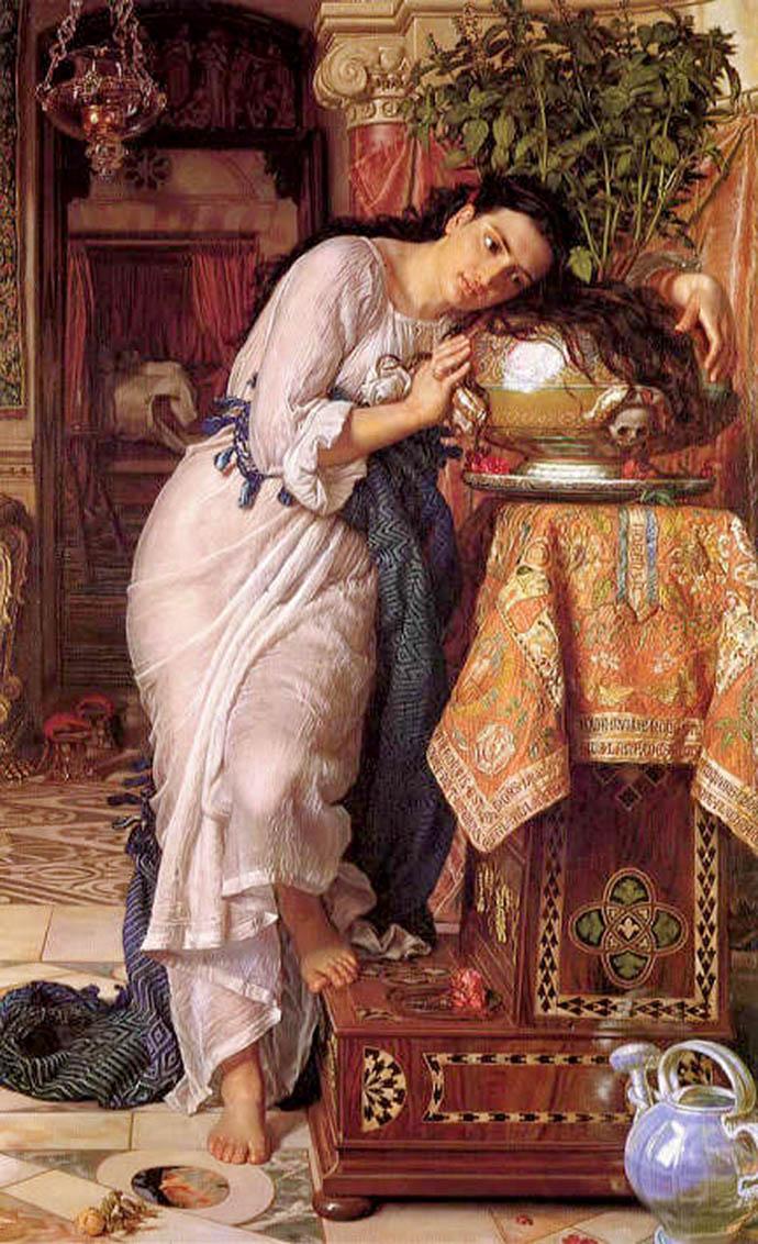 Isabella and the Pot of Basil door William Holman Hunt (1868) [Publiek domein].