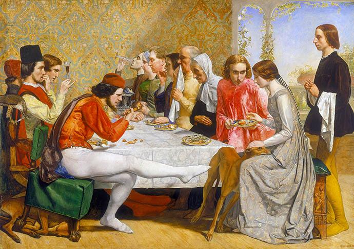 Het diner uit de Decamerone, waarbij Isabella en haar geliefde worden gadegeslagen door haar broers, verbeeld door John Everett Millais rond 1848-1849 [Publiek domein].