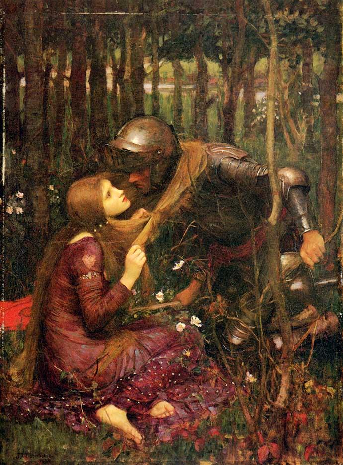 La Belle Dame sans Merci door John William Waterhouse (1893) [Publiek domein].