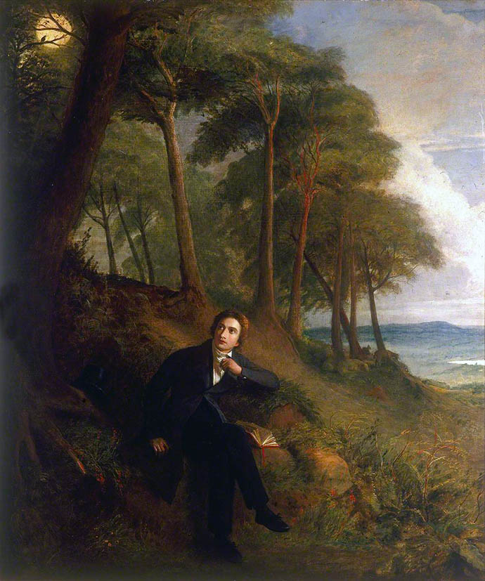 Keats Listening to a Nightingale on Hampstead Heath door Joseph Severn (1793-1879) [Publiek domein].