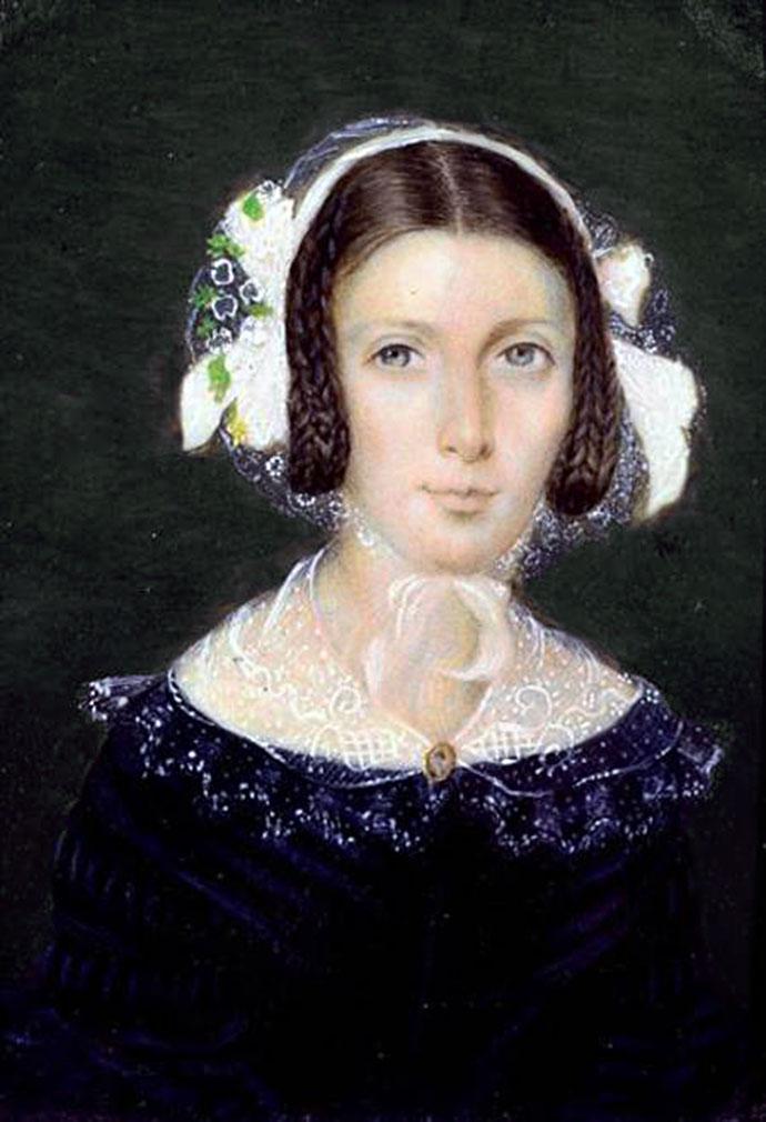 Het miniatuurportretje van Fanny Brawne, geschilderd in 1833 [Publiek domein].