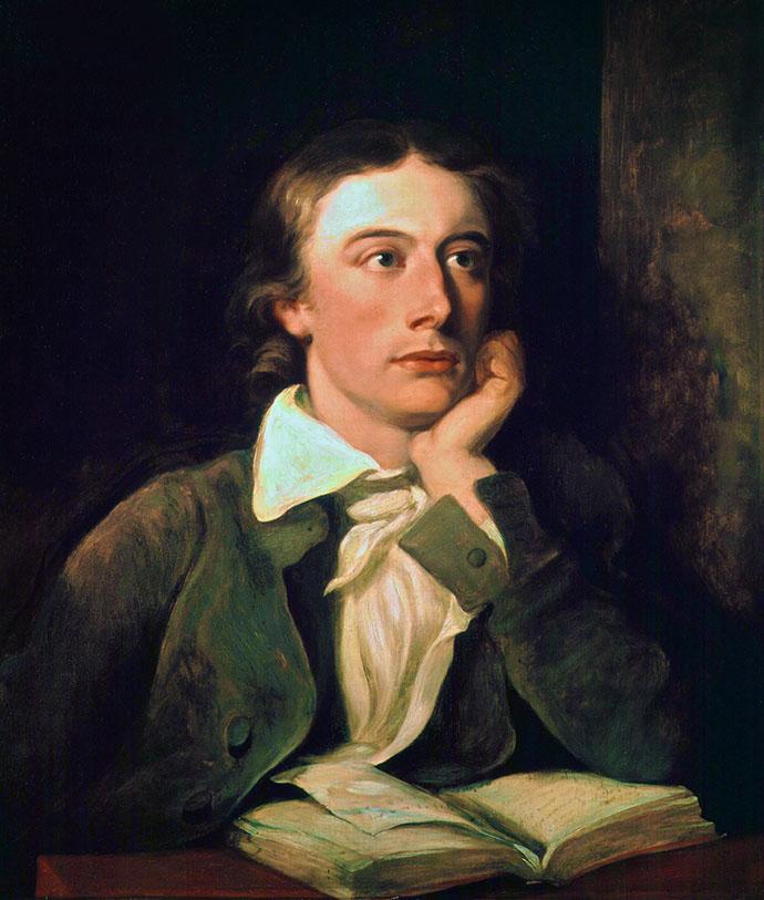 John Keats op zijn posthume portretschilderij door William Hilton uit 1822 [Publiek domein].