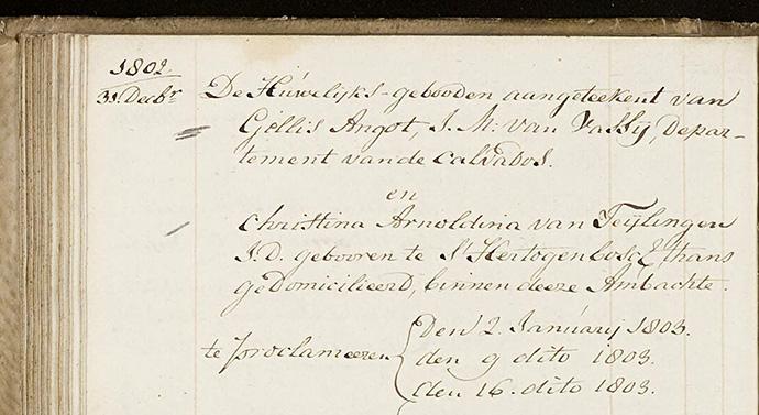 ondertrouw akte 1802 Angot - Van Teylingen