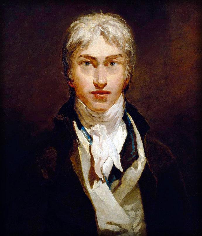 JMW Turners jonge zelfportret, omstreeks 1799. De schilder was hier dus ongeveer 24 jaar oud [Publiek domein].