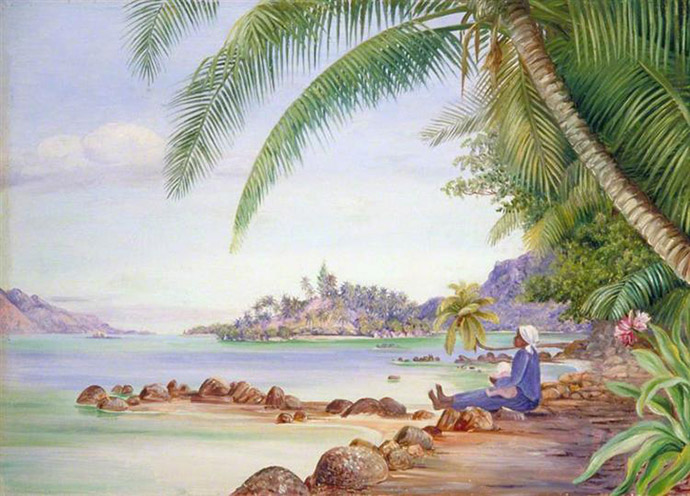 View of Round Island and a Part of St Anne's from Quarantine Island (1883), door Marianne North [Publiek domein].
