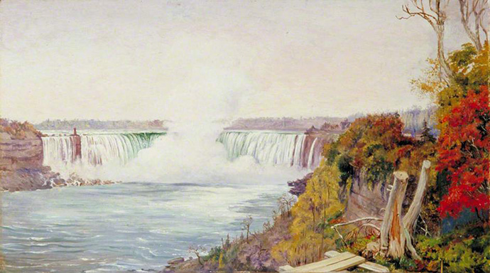View of Both Falls of Niagara, door Marianne North [Publiek domein].