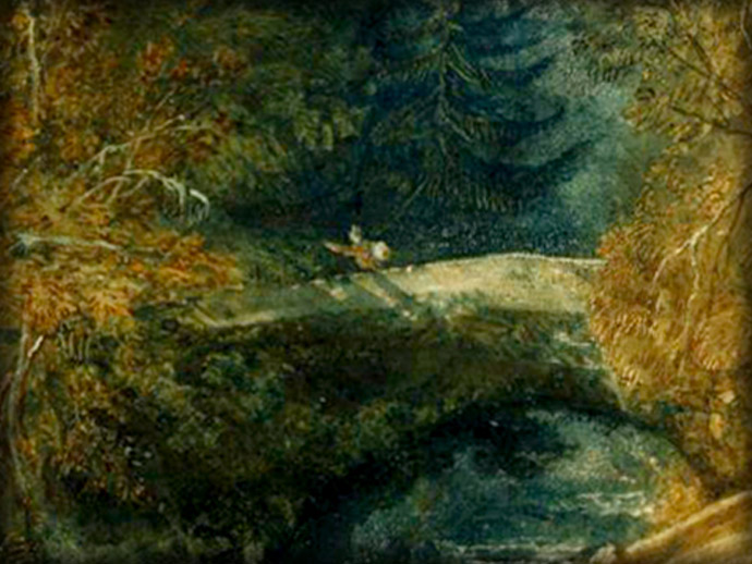 Detail van Ivy Bridge, Devonshire (circa 1813) door Joseph Mallord William Turner [Publiek domein]. Uitsnede door My inner Victorian.